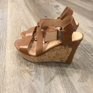 Brown leather and cork wedges NEVER WORN